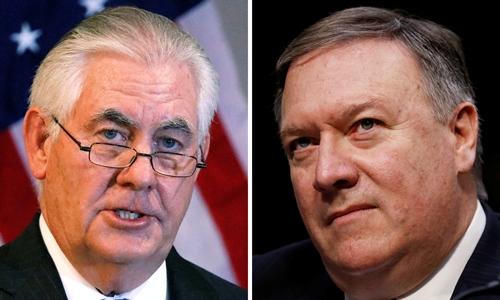 Ông Mike Pompeo, phải, người được Tổng thống chọn làm tân Ngoại trưởng Mỹ, thay ông Tillerson. Ảnh: Reuters.