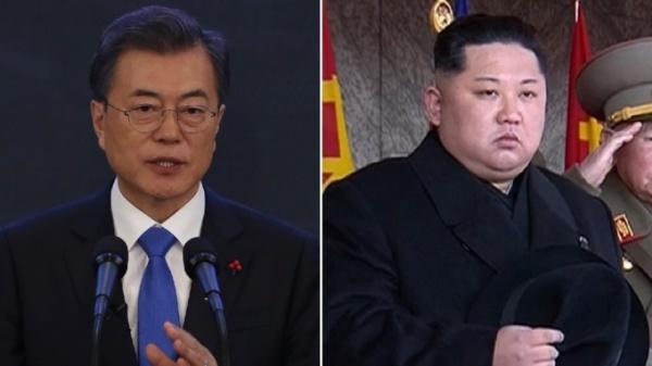 Tổng thống Hàn Quốc và nhà lãnh đạo Triều Tiên. Ảnh: ITV.