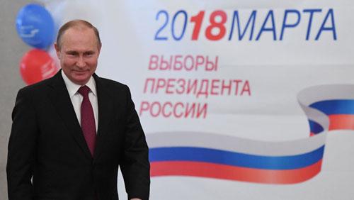 Ông Putin trong cuộc bầu cử Tổng thống Nga 2018. Ảnh: RT.
