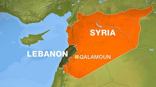 Vị trí khu vực đồi núi Qalamoun, nơi chiếc Su-24 bị bắn rơi. Đồ họa: BBC.