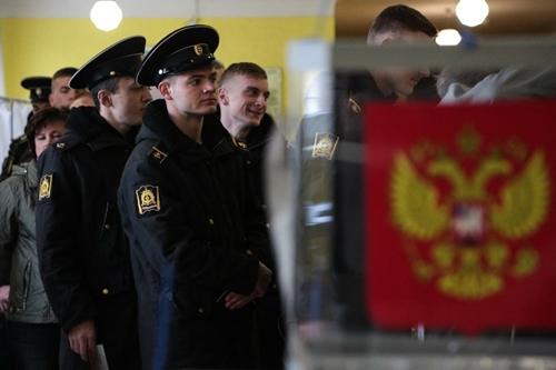 Cadets of the Nakhimov naval academy vote at a polling station during Russias presidential election in Sevastopol, Crimea, on March 18.