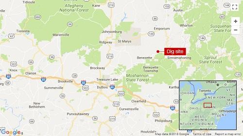 Địa điểm màu đỏ được cho là nơi số vàng bị chôn cất. Đồ họa: Google.