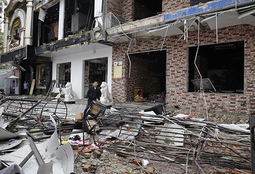 Hiện trường vụ nổ. Ảnh: Nguyễn Hải