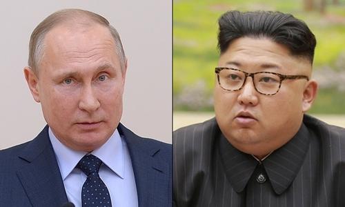 Tổng thống Nga Vladimir Putin và nhà lãnh đạo Triều Tiên Kim Jong-un. Ảnh: Tass/KCNA.
