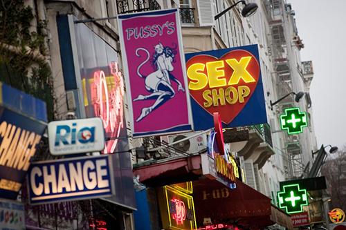 Sex shops in the Pigalle district of Paris. Photo: AFP
