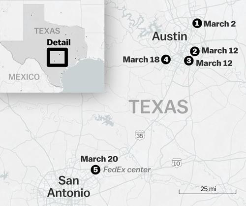Vị trí 5 bưu kiện phát nổ ở Texas, Mỹ. Đồ họa: Vox.