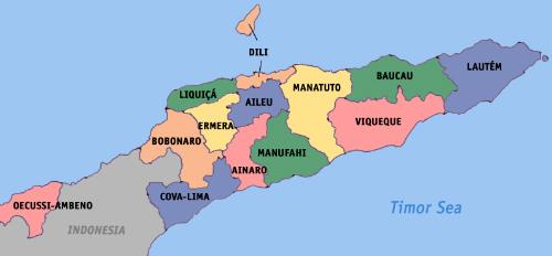 Bản đồ Đông Timor. Ảnh: Wikipedia