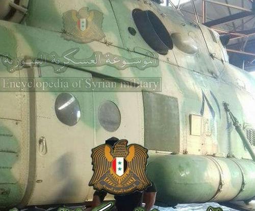 Trực thăng Mi-8MTPR-1 xuất hiện tại Syria trang bị tổ hợp Rychag-AV. Ảnh: Twitter.
