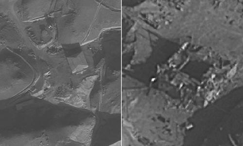 Hình ảnh cơ sở hạt nhân của Syria trước và sau khi bị không kích. Ảnh: IDF.