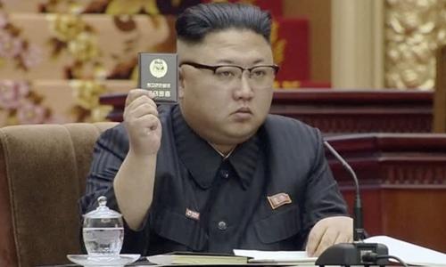 Nhà lãnh đạo Triều Tiên Kim Jong-un tại kỳ họp quốc hội Triều Tiên tháng 4/2017. Ảnh: KRT.