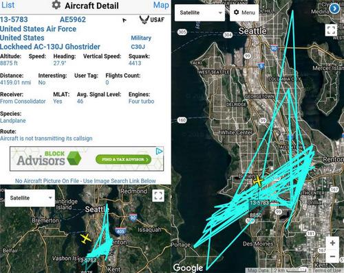 Quỹ đạo và dữ liệu bay của chiếc AC-130J trên bầu trời Seattle. Ảnh: Drive.