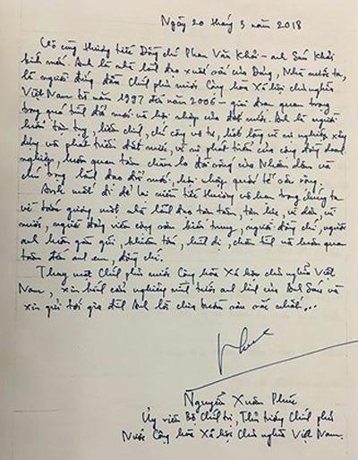 Chia sẻ của Thủ tướng Nguyễn Xuân Phúc trong sổ tang. Ảnh: VOV
