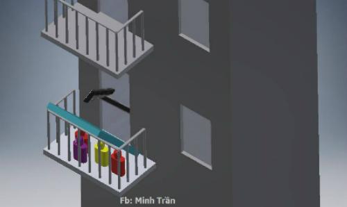 Đối với trường hợp nhà có ban công, bạn lấy một tấm nệm (màu xanh như hình minh họa) dựng lên một góc khoảng 45 độ và bạn chui vào trong.