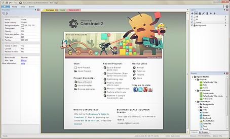 Màn hình khởi động của Construct 2.