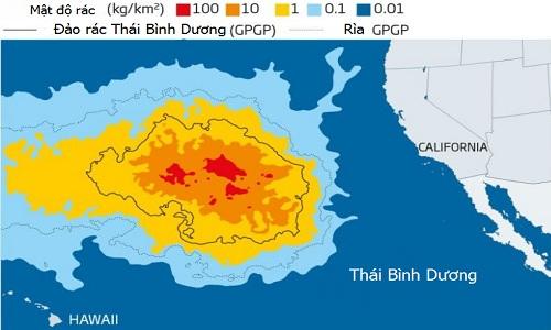 Đảo rác Thái Bình Dương có diện tích 1,6 triệukm2. Ảnh: Scientific Reports.
