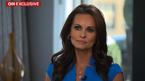 Cựu người mẫu PlayboyKaren McDougal trong cuộc phỏng vấn độc quyền với CNN tối qua. Ảnh: CNN
