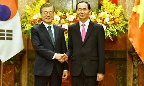 Lễ đón Tổng thống Hàn Quốc tại Phủ Chủ tịch