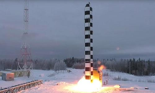 ICBM Sarmat Nga khai hỏa: Ảnh: Sputnik.