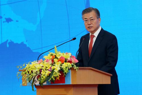 Tổng thống Moon Jae In dự lễ động thổ V-KIST. Ảnh: Ngũ Hiệp.