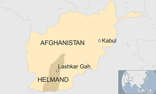 Vụ tấn công xảy ra ở Lashkar Gah. Đồ hoạ: BBC.