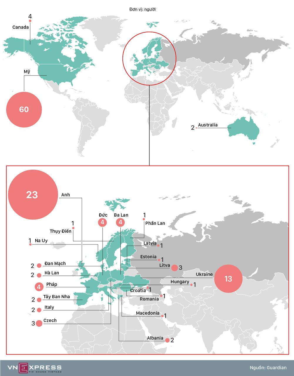 24 nước trục xuất nhà ngoại giao Nga trong vụ cựu điệp viên bị đầu độc