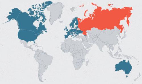 Màu xanh thể hiện các quốc gia trên thế giới đã trục xuất nhà ngoại giao Nga (màu đỏ) sau vụ Salisburytính đến ngày 27/3. Đồ họa: Anadolu.