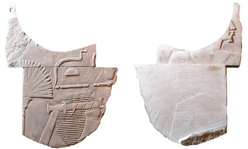 Mặt trước (trái) và mặt sau (phải) của bức điêu khắc nữ pharaohHatshepsut. Ảnh: BBC.