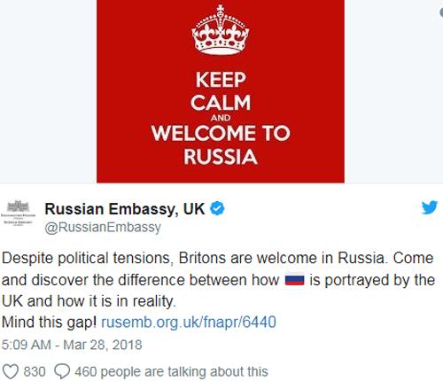 Đại sứ quán Nga tại Anh đăng thông điệp phản ứng trên Twitter trước vụ việc hơn 100 nhà ngoại giao Nga bị trục xuất. Ảnh chụp màn hình.