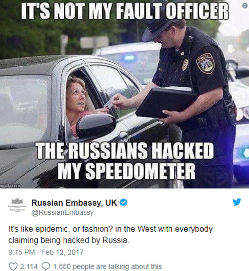 Đại sứ quán Nga tại Anh giễu nhại các nước phương Tây cáo buộc Moscow đứng sau các cuộc tấn công mạng. Ảnh chụp màn hình.