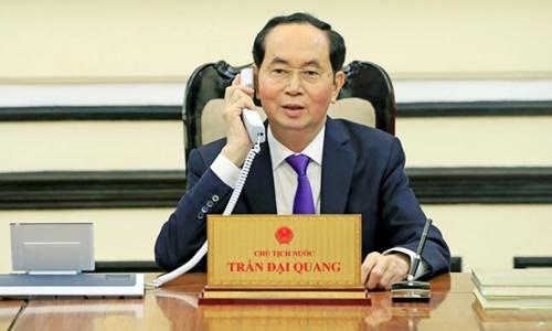 Chủ tịch nước Trần Đại Quang có cuộc điện đàm với Tổng thống Nga Vladimir Putin. Ảnh: TTXVN.