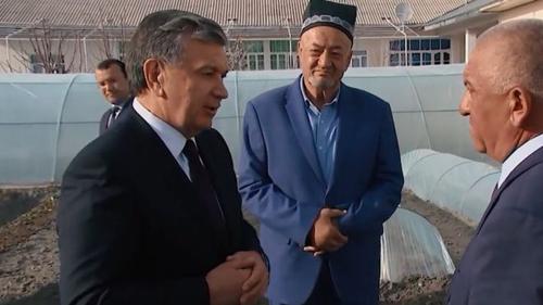 Tổng thống Uzbekistan Shavkat Mirziyoyev (trái) khuyến khích người dân trồng trọt, chăn nuôi tại nhà. Ảnh: BBC.