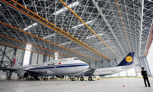 Kho chứa máy bay A320 ởSân bay Quốc tế Bắc Kinh. Ảnh:Handelsblatt Global.