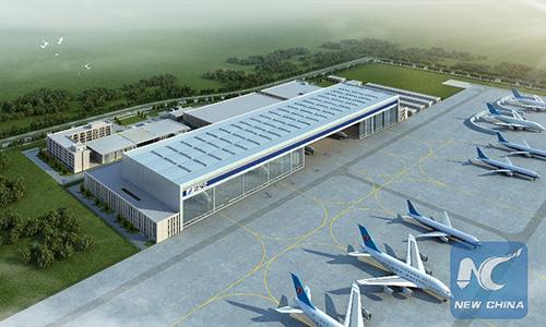 Kho chứa máy bay sắp được xây dựng ởSân bay Quốc tế Đại Hưng Bắc Kinh. Ảnh: Xinhua.