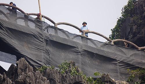 Đơn vị được thuê tháo dỡ quây lưới để tránh gây ô nhiễm và đảm bảo an toàn. Ảnh: Lam Sơn.