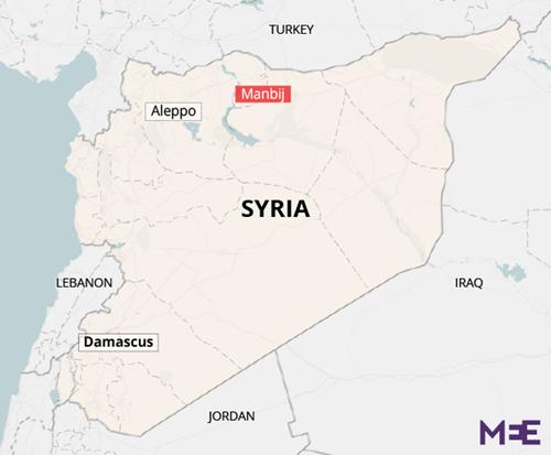 Vị trí thành phố Manbij, Syria. Đồ họa: Middle East Eye.