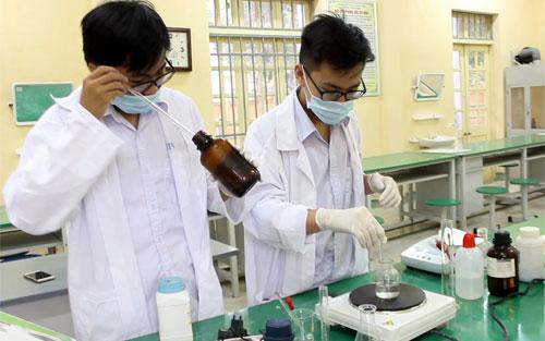 Hai học sinh lớp 10 Lê Hoàng Bách và Lê Dương Minhnghiên cứu đầu dò nano chữa ung thư.