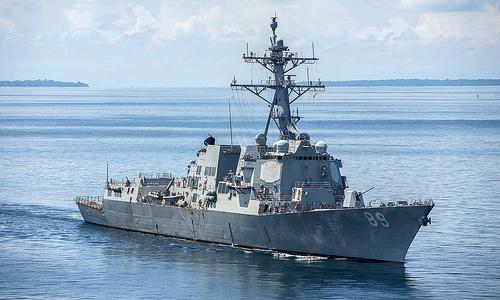 Tàu khu trục USS Mustin của Mỹ tuần tra Biển Đông hôm 23/3. Ảnh: US Navy.