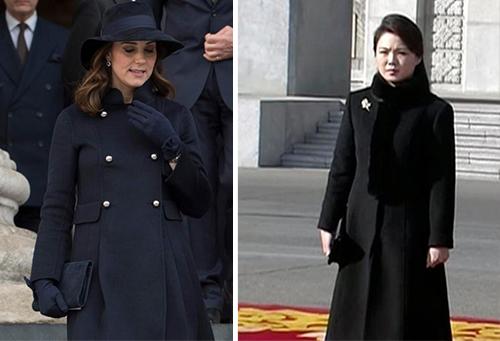 Chiếc áo dạ dáng dài trông tương tự nhau của công nương Anh và phu nhân lãnh đạo Triều Tiên. Ảnh: Splash News, AP