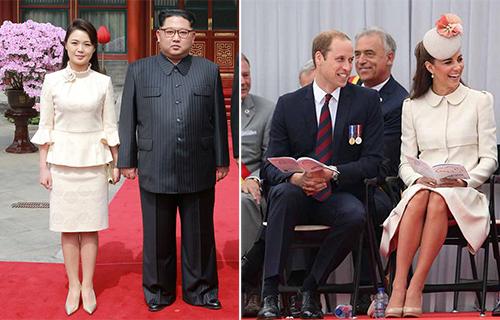 Bộ váy màu kem mà Ri Sol-jumặc trong chuyến thăm chính thức đến Trung Quốc tuần trước được liên tưởng tới bộ váy của công nương Kate năm 2014. Ảnh: KCNA, Mirror