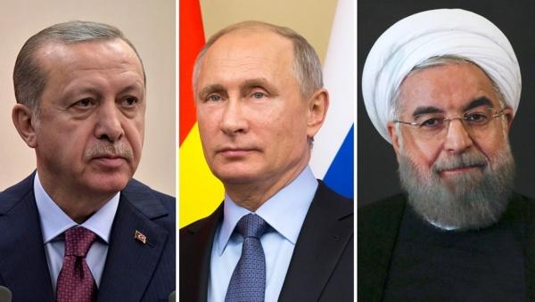 Tổng thống Erdogan, Putin và Rouhani. Ảnh: