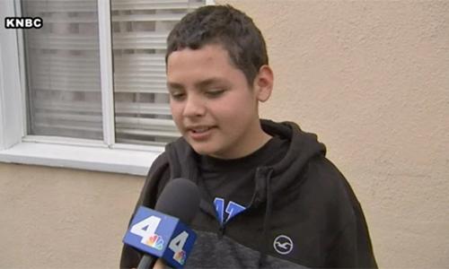 Jesse Hernandez sau khi được giải cứu. Ảnh: KNBC