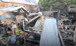 Cháy 5 căn nhà trong chợ ở Kiên Giang