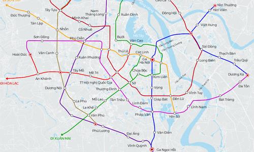 Mạng lưới đường sắt đô thị 40 tỷ USD của Hà Nội trong tương lai (click vào hình để xem chi tiết). Đồ họa: Bá Đô - Tiến Thành.