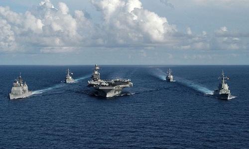 Nhóm tác chiến tàu sân bay Theodore Roosevelt của hải quân Mỹ. Ảnh:US Navy.