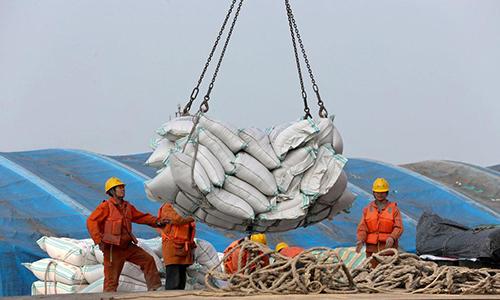 Công nhân Trung Quốc nhận lô đậu nành nhập khẩu ở Nam Thông, Giang Tô.Ảnh: AP.