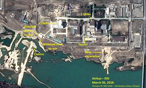 Hình ảnh vệ tinh về khu liên hợp hạt nhân Yongbyon của Triều Tiên ngày 30/3. Ảnh: ISIS.