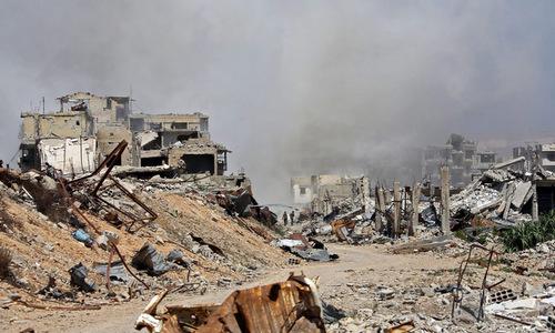 Một khu vực bị phá hủy trong chiến dịch tấn công Đông Ghouta. Ảnh: AFP.