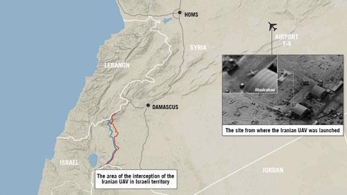 Tên lửa hành trình được cho là bay qua không phân Lebanon trước khi tới căn cứ T-4. Ảnh: IDF.