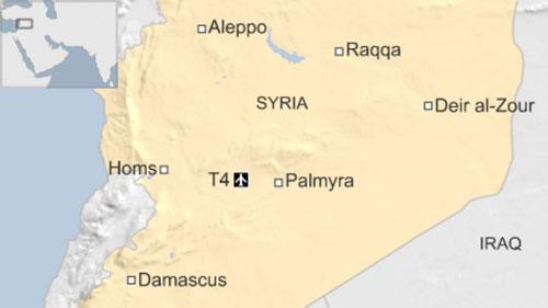 Vị trí căn cứ không quân T-4 của Syria. Đồ họa: Worldtribune.