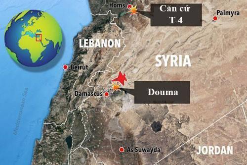 Vị trí sân bay quân sự T-4 của Syria. Đồ họa: Sun.